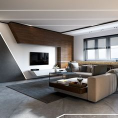 Sleek Contemporary Living Room. Concrete And Wood Is A Nice Mix. #Modern #