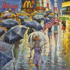 Under American Flag, Rainy New York Street by Stanislav Sidorov. #ugallery