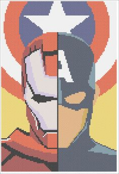 BOGO FREE! Superheroes Marvel Captain America Iron Man Civil War Logo Cross Stitch Pattern - pdf pattern instant download #215