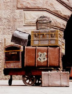 "Select handsome vintage leather suitcases and trunks similar to these charmers can really add distinctive decorative character to old world style designs and other ""well traveled"" looks."