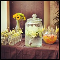 Baby Shower Drink Table with citrus cucumber water and sparkling citrus punch | A Texas Belle
