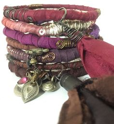 Bohemian Bangles! Sari Silk Bracelets Eclectic Gypsy Charms Beads Bullet Shell Silk Tassel Kuchi Coin Bells Post Apocalyptic Jewelry