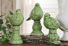 Terracotta Bird Finials, Asst. of 3