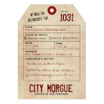 Vintage Toe Tag Adult Halloween Party Invite15% OFF ALL ORDERS | 30% Off ALL Cards, Posters, Plates & More - Haunt Your Home!     LAST DAY!     Use Code: ZSPOOKYSCARY