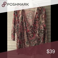 Talbots mock wrap 3/4 sleeve top Talbots 2X mock wrap 3/4 sleeve top. Excellent used condition. Smoke free home, no rips, stains or tears. Talbots Tops Blouses