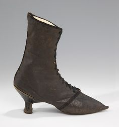 Leather boots 1780-95 - Boots began to become fashionable for women in the last quarter of the 18th century, but their use was limited primarily to riding and driving.
