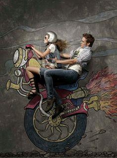 Branden Hughes | Creative Photos of Models Lying on Chalk Drawings