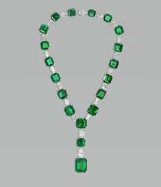 Important Colombian emerald necklace with white oval-cut diamonds David Morris #emeraldnecklace