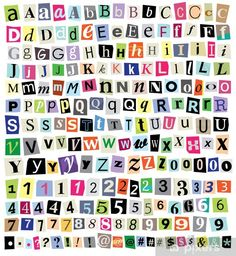 Over 200 vector cut newspaper and magazine letters, numbers, & symbols. Mixed uppercase and lowercase-multiple options for each one. Perfect design elements for a ransom note, creative typography, etc - stock vector Carta Collage, Letter Collage, Wall Collage, Printable Stickers, Cute Stickers, Alphabet Stickers, Number Stickers, Letras Cool, Aesthetic Stickers