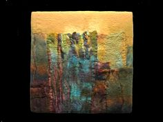 A handmade felt wall piece made of dyed, unspun wool and silk; an abstract image capturing a mysterious quality of light with possible landscape references