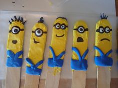 Air dry clay minions on craft sticks.  The kids loved then and couldn't wait to take them home.  My son called them bookmarks.
