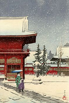 "Japanese Art Print ""Snow at Nezu-Gongen Shrine"" by Kawase Hasui. Shin Hanga and Art Reproductions http://www.amazon.com/dp/B01E8NHFH0/ref=cm_sw_r_pi_dp_Bh5dxb1D4EBZQ"