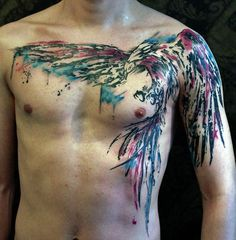 #Tattoos Watercolor Chest Phoenix Tattoo for Men
