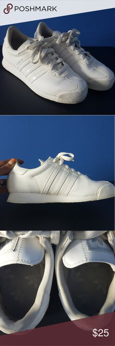 Adidas Originals Samoa All white still in Good Condition Adidas Original Samoa Women's size 6 . Has some peeling around sole of one shoe . Can only be seen up close. See All pictures adidas Shoes Sneakers