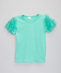 Love this Teal Ruffle-Sleeve Top - Infant, Toddler & Girls by Little Miss Fairytale on #zulily! #zulilyfinds