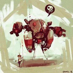 Instagram media by spudonkey - Quick mech doodle #sketchbook #conceptart #robot #art