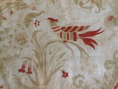 Antique French Sylized Indienne Floral Bird Cotton Fabric ~ Deep Red Tan Beige