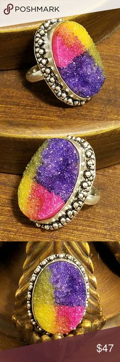 """DRUSY DRUZY RING 1"""" Drusy Druzy Ring (Size 7) in """"925 Stamped"""" Sterling Silver Vintage Style Design Jewelry Rings"""