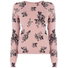 Oasis Rose Printed Crop Jumper, Pale Pink (775 RUB) ❤ liked on Polyvore featuring tops, sweaters, cropped sweater, pale pink sweater, boatneck sweater, pink jumper and boat neck sweater