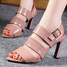 patch 2014 sexy sapatos sandálias para as mulheres sapatos de couro genuíno brank nova dedo aberto bombas salto fino verão calçados sandálias 34-39 US $59.04