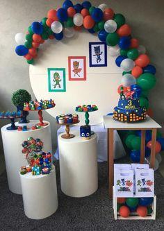 Pj Masks Birthday Cake, Baby Birthday Themes, 4th Birthday Parties, 1st Boy Birthday, Pj Mask Party Decorations, Diy Birthday Decorations, Pjmask Party, Party Time, Festa Pj Masks