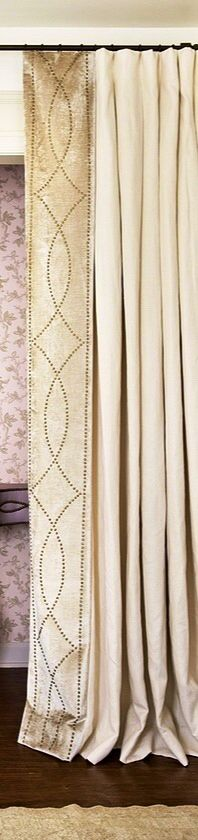 Perfect edge detail on drapes. like nail head. Bright Curtains, Curtains With Blinds, Window Curtains, Drapery Styles, Drapery Designs, Window Coverings, Window Treatments, Passementerie, Custom Windows