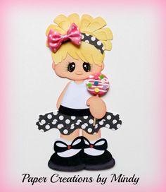 ELITE4U lollipop girl kid summer premade paper piecing scrapbooking page black ~ Paper Creations by Mindy
