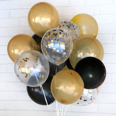Check out this item in my Etsy shop https://www.etsy.com/listing/479833729/gold-black-confetti-balloon-celebration