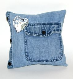 Pillow made from Recycled Denim