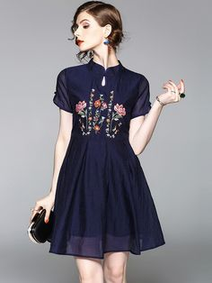 Embroidered Fit & Flare Qipao / Cheongsam Dress