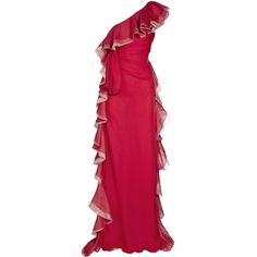 Valentino - VALENTINO red ruffled silk-chiffon gown JESSICA ALBA got it too!