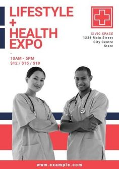 A promotional poster template. Lifestyle and health expo event with a background… A promotional poster template. Lifestyle and health expo event with a background image of two healthcare professionals.