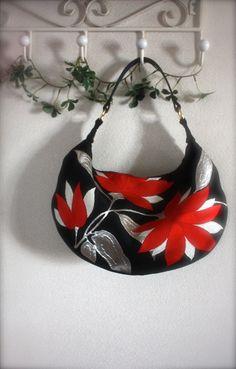 BK710 Beautiful Flower Embroidery Antique Obi Crescent Bag Large Size