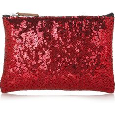 Marni Sequined pouch (€53) ❤ liked on Polyvore featuring bags, handbags, clutches, purses, marni, red, tomato red, red leather handbags, zipper pouch and handbag purse