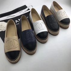 Chanel Slippers, Chanel Shoes Espadrilles, Leather Espadrilles, Designer Espadrilles, Chanel Heels, Chanel Chanel, Balenciaga Shoes, Gucci Shoes, Slippers