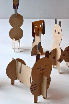 DIY cardboard animals for children - Diy Cardboard Toys Cardboard Animals, Cardboard Toys, Paper Toys, Cardboard Playhouse, Cardboard Furniture, Cardboard Crafts Kids, Cardboard Castle, Paper Animals, Paper Clay