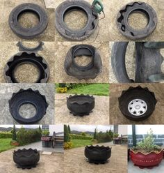 """Make Footed Flower Garden Tire Planter DIY Project Homesteading  - The Homestead Survival .Com     """"Please Share This Pin"""""""