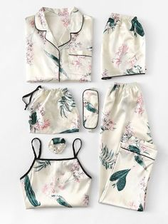 Floral Print Cami Pajama Set With Shirt -SheIn(Sheinside)