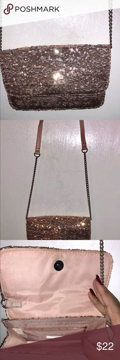 Pink sequin purse Pink sequin purse with strap Bags Clutches & Wristlets