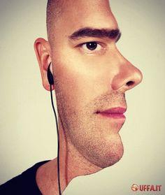 Foto divertente: Illusione ottica: volto visto di fronte ma anche di profilo