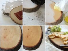 use a precut woodslice to make a cute cuttingboard serving tray