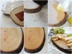 use a precut woodslice to make a cute cuttingboard serving tray