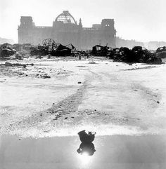 Berlin, Germany, 1945.The ruined Reichstag in perspective