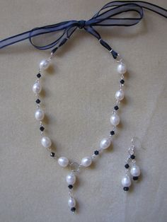 Pearls Necklace and Earrings Formal Pearls and by EvaLineJewelry, $45.00