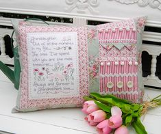 The Rivendale Collection - Granddaughter: This lovely pattern is a part of The Rivendale Collection by Sally Giblin. Pattern includes instructions for stitchery, instructions for appliqué, and instructions for cushion. Finished size is 16 Patch Quilt, Fabric Patch, Pillow Embroidery, Embroidery Patterns, Patchwork Patterns, Quilt Patterns, Patchwork Ideas, Patchwork Quilting, Quilting Projects
