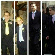 Greg and Niall in tuxes, then & now(: Awhhh