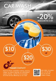 Downlosd our new premium flyer for your carwash promotion! #car #wash #promotion #orange