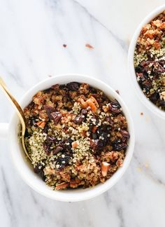Epic breakfast quinoa recipe featuring toasted pecans, coconut oil, cinnamon and dried cherries or cranberries. It tastes like cinnamon toast!