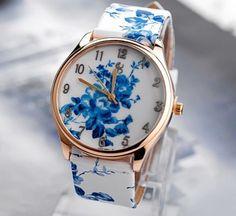 relógio azul florido - relógios