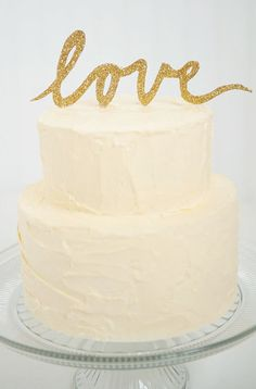 Gold Textured  Love Script Wedding Cake Topper by SouthernGoldShop